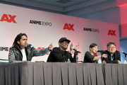Adi Shankar, LeSean Thomas, translator and Shinji Higuchi speak onstage during the Netflix presents Netflix<3Anime panel during Anime Expo 2018  at Los Angeles Convention Center on July 5, 2018 in Los Angeles, California.