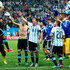 Maxi Rodriguez Photos - Lionel Messi of Argentina celebrates with teammates after defeating the Netherlands in a penalty shootout during the 2014 FIFA World Cup Brazil Semi Final match between the Netherlands and Argentina at Arena de Sao Paulo on July 9, 2014 in Sao Paulo, Brazil. - Netherlands v Argentina