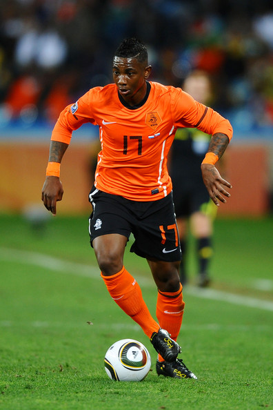 Eljero Elia Eljero Elia of the Netherlands in action during the 2010 FIFA World Cup South Africa Round of Sixteen match between Netherlands and Slovakia at Durban Stadium on June 28, 2010 in Durban, South Africa.