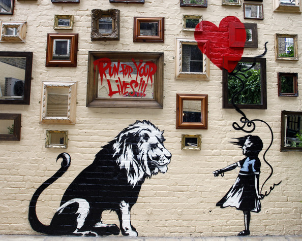 New Banksy Mural New Banksy Mural at The Princess of Wales Pub in Primrose Hill on June 14, 2010 in London, England.