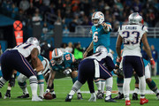 Jay Cutler #6 of the Miami Dolphins calls a play in the first quarter against the New England Patriots at Hard Rock Stadium on December 11, 2017 in Miami Gardens, Florida.