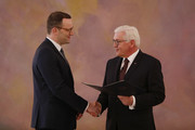 Health Minister Jens Spahn takes his oath from Germany President Frank-Walter Steinmeier to serve as Ministrer following the election by the Bundestag on March 14, 2018 in Berlin, Germany. Members of the new German government, a coalition between Christian Democrats (CDU/CSU) and Social Democrats (SPD), were sworn in today and will begin work immediately. The new government took the longest to create of any government in modern German history following elections last September that left the German Christian Democrats (CDU) as the strongest party but with too few votes in order to have a strong hand in determining the next coalition.