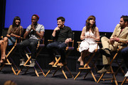 (L-R) Actors Hannah Simone, Lamorne Morris, Max Greenfield, Zooey Deschanel, and Jake Johnson speak onstage at the 'New Girl' Season 3 Finale Screening and cast Q&A at Zanuck Theater at 20th Century Fox Lot on May 8, 2014 in Los Angeles, California.
