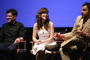 (L-R) Actors Max Greenfield, Zooey Deschanel, and Jake Johnson speak onstage at the 'New Girl' Season 3 Finale Screening and cast Q&A at Zanuck Theater at 20th Century Fox Lot on May 8, 2014 in Los Angeles, California.