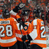 Claude Giroux Danny Briere Photos - Danny Briere #48 of the Philadelphia Flyers celebrates his overtime goal against the New Jersey Devils with teammates Claude Giroux #28 and Maxime Talbot #27 in Game One of the Eastern Conference Semifinals during the 2012 NHL Stanley Cup Playoffs at the Wells Fargo Center on April 29, 2012 in Philadelphia, Pennsylvania. - New Jersey Devils v Philadelphia Flyers - Game One