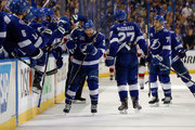 Ryan Callahan #24 of the Tampa Bay Lightning is congratulated on his empty net goal against the New Jersey Devils in the third period of Game Five of the Eastern Conference First Round during the 2018 NHL Stanley Cup Playoffs at Amalie Arena on April 21, 2018 in Tampa, Florida.