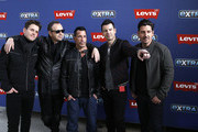 """Joey McIntyre, Donnie Wahlberg, Danny Wood, Jordan Knight and Jonathan Knight of New Kids On The Block visit """"Extra"""" at The Levi's Store Times Square on March 08, 2019 in New York City."""
