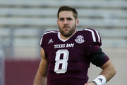 Trevor Knight #8 of the Texas A&M Aggies warms up before playing the New Mexico State Aggies at Kyle Field on October 29, 2016 in College Station, Texas.