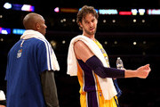 Pau Gasol #16 and Kobe Bryant #24 of the Los Angeles Lakers talk during the game with the New Orleans Hornets at Staples Center on January 29, 2013 in Los Angeles, California. . The Lakers won 111-106.  NOTE TO USER: User expressly acknowledges and agrees that, by downloading and or using this photograph, User is consenting to the terms and conditions of the Getty Images License Agreement.