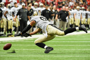 Jimmy Graham #80 of the New Orleans Saints reaches for the ball in the first quarter against the New Orleans Saints at the Georgia Dome on September 7, 2014 in Atlanta, Georgia.