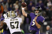 Quarterback Joe Flacco #5 of the Baltimore Ravens throws the ball in the fourth quarter against the New Orleans Saints at M&T Bank Stadium on October 21, 2018 in Baltimore, Maryland.