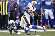 C.J Spiller #28 of the New Orleans Saints runs after a catch against the Indianapolis Colts at Lucas Oil Stadium on October 25, 2015 in Indianapolis, Indiana.