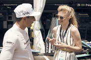 In this handout provided by FIA Formula E, Mitch Evans (NZL), Panasonic Jaguar Racing, Jaguar I-Type II, meets Natalie Dormer during the New York City ePrix, Round 11 of the 2017/18 FIA Formula E Series on July 14, 2018 in New York, United States.