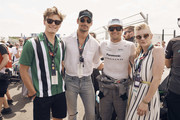 In this handout provided by FIA Formula E, Oliver Cheshire, David Gandy, Nelson Piquet Jr. (BRA), Panasonic Jaguar Racing, Jaguar I-Type II, and Natalie Dormer during the New York City ePrix, Round 11 of the 2017/18 FIA Formula E Series on July 14, 2018 in New York, United States.