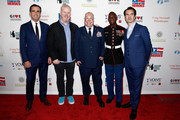 """Keir Simmons, Jim Gaffigan, Israel """"DT"""" Del Toro, Kionte Storey and Jimmy Carr attend The New York Comedy Festival and The Bob Woodruff Foundation present the 12th Annual Stand Up For Heroes event at The Hulu Theater at Madison Square Garden on November 5, 2018 in New York City."""