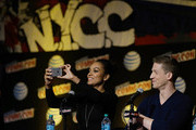 Lyndie Greenwood and Zach Appelman of Sleepy Hollow speak during New York Comic-Con 2015 day 4 at the Jacob K. Javits Convention Center on October 11, 2015 in New York City.