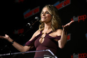 Actor Rebecca Romijn speaks onstage at the Star Trek: Discovery panel during New York Comic Con at The Hulu Theater at Madison Square Garden on October 6, 2018 in New York City.