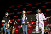 Rebecca Sugar, Deedee Magno and Estelle perform on stage during Steven Universe presentation at New York Comic Con 2019 - Day 2 at Jacobs Javits Center on October 04, 2019 in New York City.