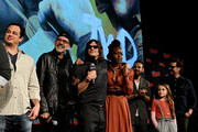 Dave Alpert, Jeffrey Dean Morgan, Danai Gurira, Ross Marquand, Cailey Fleming, and Josh McDermitt onstage during The Walking Dead Universe, Including AMC's Flagship Series and the Untitled New Third Series Within The Walking Dead Franchise at New York Comic Con 2019 Day 3 at Jacob K. Javon October 05, 2019 in New York City.