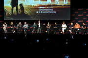 Heather Leyton Kadin, Akiva Goldsman, Michael Chabon, Alex Kurtzman, Sir Patrick Stewart, Isa Briones, Santiago Cabrera, Michelle Hurd, Alison Pill, Harry Treadaway, and Evan Evagora speak onstage during the Star Trek Universe panel New York Comic Con at Hulu Theater at Madison Square Garden on October 05, 2019 in New York City.