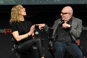 Heather Leyton Kadin and Akiva Goldsman speak onstage during the Star Trek Universe panel New York Comic Con at Hulu Theater at Madison Square Garden on October 05, 2019 in New York City.