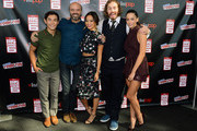 (L-R) Actors Ryan Potter, Scott Adsit, Jamie Chung, TJ Miller, and Genesis Rodriguez attend Walt Disney Studios' 2014 New York Comic Con presentations of 'Big Hero 6' and 'Tomorrowland' at the Javits Convention Center on Thursday October 9, 2014 in New York City.
