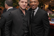 (EXCLUSIVE COVERAGE) Tom Murro and  Montel Williams attend the New York Giants Super Bowl Pep Rally Luncheon at Michael's on February 1, 2012 in New York City.