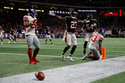 Robert Alford #23 of the Atlanta Falcons breaks a two point conversion intended for Odell Beckham Jr. #13 of the New York Giants during the fourth quarter against the New York Giants at Mercedes-Benz Stadium on October 22, 2018 in Atlanta, Georgia.