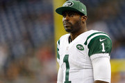 Michael Vick #1 of the New York Jets looks on after their loss of 3-38 to the Buffalo Bills at Ford Field on November 24 , 2014 in Detroit, Michigan.