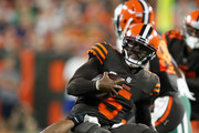 Tyrod Taylor #5 of the Cleveland Browns is sacked by Darron Lee #58 of the New York Jets during the first quarter at FirstEnergy Stadium on September 20, 2018 in Cleveland, Ohio.