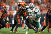 Tyrod Taylor #5 of the Cleveland Browns gets sacked by Buster Skrine #41 of the New York Jets during the second quarter at FirstEnergy Stadium on September 20, 2018 in Cleveland, Ohio.