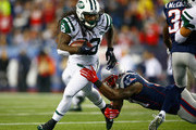 Chris Ivory #33 of the New York Jets carries the ball during the first quarter against the New England Patriots at Gillette Stadium on October 16, 2014 in Foxboro, Massachusetts.