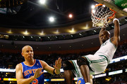 Kevin Garnett #5 of the Boston Celtics dunks the ball in front of Jason Kidd #5 of the New York Knicks during Game Four of the Eastern Conference Quarterfinals of the 2013 NBA Playoffs on April 28, 2013 at TD Garden in Boston, Massachusetts. NOTE TO USER: User expressly acknowledges and agrees that, by downloading and or using this photograph, User is consenting to the terms and conditions of the Getty Images License Agreement.