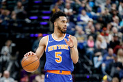 Courtney Lee #5 of the New York Knicks dribbles the ball against the Indiana Pacers at Bankers Life Fieldhouse on February 11, 2018 in Indianapolis, Indiana.  NOTE TO USER: User expressly acknowledges and agrees that, by downloading and or using this photograph, User is consenting to the terms and conditions of the Getty Images License Agreement.