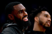 Tim Hardaway Jr. #3 and Courtney Lee #5 of the New York Knicks warm up before the game against the Los Angeles Lakers at Staples Center on January 21, 2018 in Los Angeles, California.