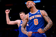 Michael Beasley #8 and Kristaps Porzingis #6 of the New York Knicks react after a lost possession to the Los Angeles Lakers during a 127-107 Laker win at Staples Center on January 21, 2018 in Los Angeles, California.