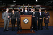 U.S. Rep. Hakeem Jeffries (4th L) (D-NY) joins with members of the New York congressional delegation, (L-R) U.S. Rep. Eliot Engel (D-NY), U.S. Rep. Nydia Velazquez (D-NY), U.S. Rep. Gregory Meeks (D-NY), U.S. Rep. Joseph Crowley (D-NY), U.S. Rep. Charles Rangel (D-NY), U.S. Rep. Jose Serrano (D-NY) and U.S. Rep. Yvette Clarke (D-NY),  in speaking out on a Staten Island grand jury's decision not to bring criminal charges against a white police officer who was involved in the death of Eric Garner December 3, 2014 in Washington, DC. Garner died after being placed in a chokehold by New YOrk City police officer Daniel Pantaleo.