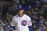 Anthony Rizzo #44 of the Chicago Cubs waits for a video replay of his 1,000th Cubs career hit, a double in the 7th inning against the New York Mets, at Wrigley Field on August 27, 2018 in Chicago, Illinois.