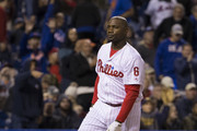 Ryan Howard #6 of the Philadelphia Phillies drops his bat and helmet after striking out in the bottom of the eighth inning against the New York Mets at Citizens Bank Park on September 30, 2016 in Philadelphia, Pennsylvania. The Mets defeated the Phillies 5-1.