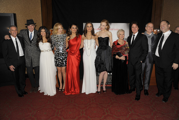 (L-R) Producer Marc Platt, actors Daniel Day-Lewis, Fergie, Kate Hudson, Penelope Cruz, Marion Cotillard, Nicole Kidman, Dame Judi Dench, Rob Marshall, producer John DeLuca and Harvey Weinstein attend the New York premiere of