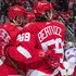 Henrik Zetterberg #40 of the Detroit Red Wings celebrates his third period goal with teammate Tyler Bertuzzi #59 during an NHL game against the New York Rangers at Little Caesars Arena on December 29, 2017 in Detroit, Michigan.