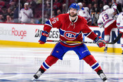 Andrei Markov #79 of the Montreal Canadiens looks on as he skates against the New York Rangers in Game Five of the Eastern Conference First Round during the 2017 NHL Stanley Cup Playoffs at the Bell Centre on April 20, 2017 in Montreal, Quebec, Canada.  The New York Rangers defeated the Montreal Canadiens 3-2 in overtime.