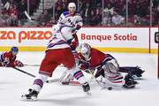 Goaltender Antti Niemi #37 of the Montreal Canadiens makes a save in the third period on David Desharnais #51 of the New York Rangers during the NHL game at the Bell Centre on February 22, 2018 in Montreal, Quebec, Canada.  The Montreal Canadiens defeated the New York Rangers 3-1.