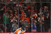 Claude Giroux #28 of the Philadelphia Flyers celebrates his hattrick at 10:11 of the third period against the New York Rangers at the Wells Fargo Center on April 7, 2018 in Philadelphia, Pennsylvania. The Flyers shut out the Rangers 5-0.
