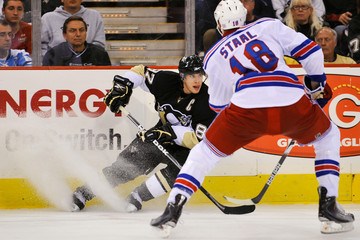Marc Staal Sidney Crosby New York Rangers v Pittsburgh Penguins