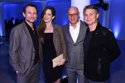(L-R) Christian Slater,  Brittany Lopez, a guest, and Jason Binn attend the Speaker Dinner presented by Mercedes-Benz during The New York Times International Luxury Conference at the Moore Building on December 1, 2014 in Miami, Florida.