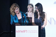 "(L-R) Actors Caroline Aaron, Rachel Brosnahan and Marin Hinkle on stage during the New York Women in Film and Television's ""Designing Women Awards"" at the DGA on June 11, 2019 in New York City."
