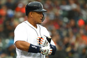 Miguel Cabrera #24 of the Detroit Tigers waits to hit in the first inning while playing the New York Yankees at Comerica Park on April 13, 2018 in Detroit, Michigan.