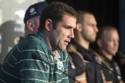 Australian captain Cameron Smith speaks to the media ahead of the international Test match during a press conference at Suncorp Stadium on April 30, 2015 in Brisbane, Australia.