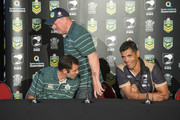 (L-R) Australia captain Cameron Smith, coach Tim Sheens and New Zealand coach Stephen Kearney share a laugh at a press conference ahead of the international Test match at Suncorp Stadium on April 30, 2015 in Brisbane, Australia.